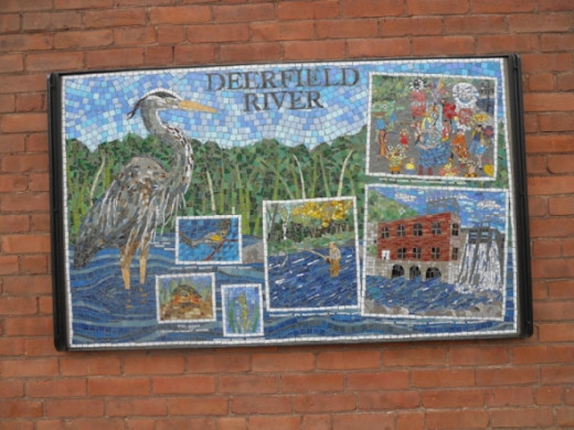 "The Deerfield River mosaic is also on Deerfield Avenue on the ""Young & Constantin Gallery"""