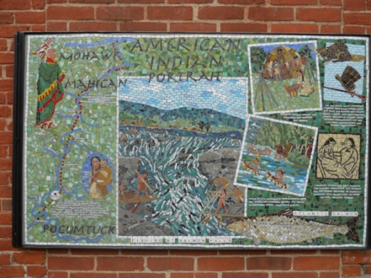 This Mohawk mosaic is on the side of the Rod & Gun Club on Deerfield Street.   You will see it walking to the glacial pot holes.