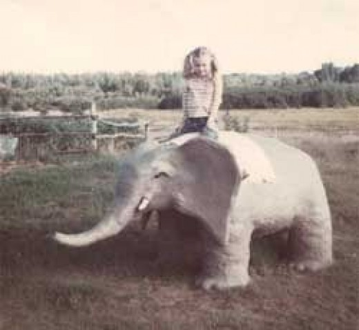 Me sitting on the cement elephant my dad made for me after our visit to the zoo