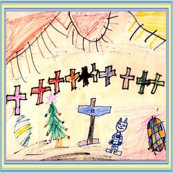A child's Easter drawing with a Christmas tree in it