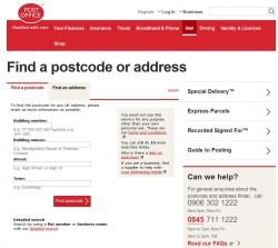 Royal Mail tool for finding a Postcode or Address in UK