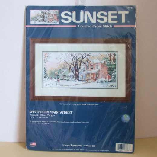 "Cross Stitch Kit - ""Winter on Main Street"" ( To buyer in Russia )  £ 44"