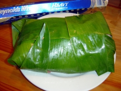 Pork Wrapped in Banana and Ti Leaves