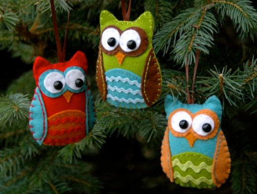 Christmas Ornament Ideas - Felt Owls