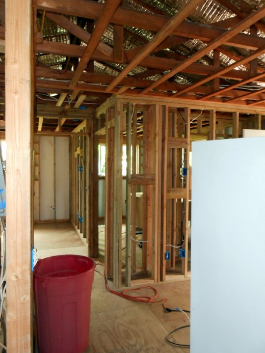 Picture of completed interior framing. Refrigerator is the white object in right side of pic. We kept it plugged in during renovation for cold drinks.