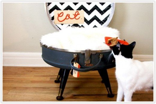 Vintage Suitcase Cat Bed via Camille Styles