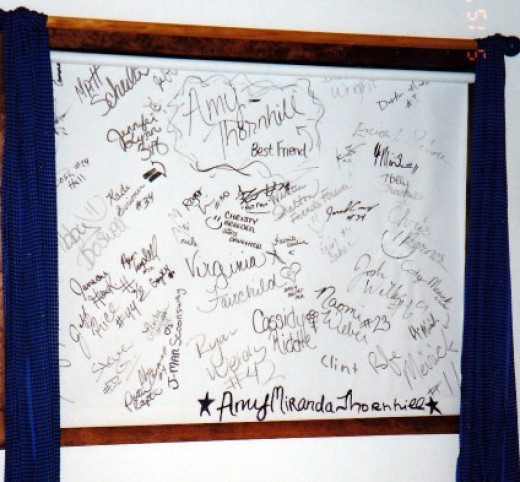Years ago. Teen daughters EclectiCheap window treatment. Standard shade and a black sharpie autographed by her friends (and big brother's) Big hit! :)