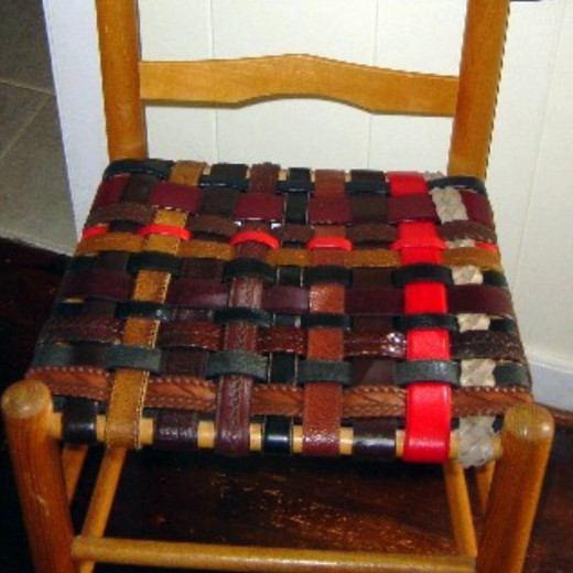 Thrift shop belts woven as new seating. Easy and very EclectiCheap!