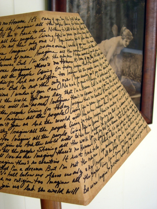 "Black sharpie + Thrifted lampshade + John Lennon's ""Imagine"" song lyrics = EclectiCheap décor!"
