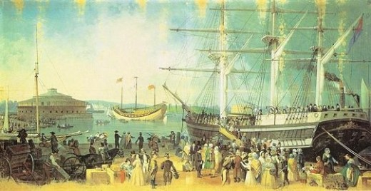 Public domain painting by Samuel Waugh his Museum includes gorgeous, detailed paintings of New York City's past. This picture reminds me of the Clearwater Sloop.
