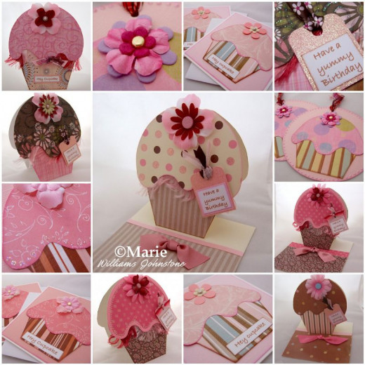 Handmade cupcake cards mosaic