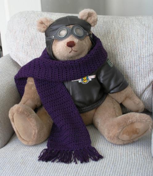 Adorable purple crochet scarf