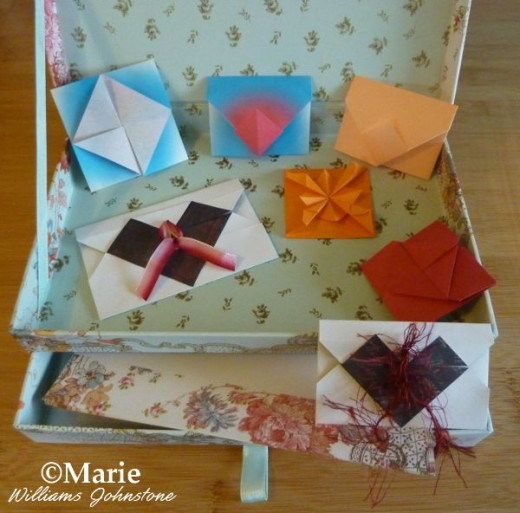 A Selection of Handmade Paper Folded Origami Envelopes