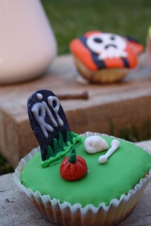 Gravestone Zombie Themed Cupcakes