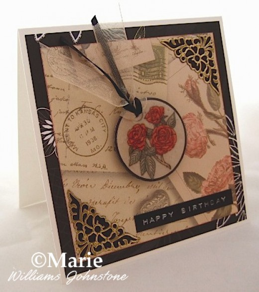 Handmade rose birthday card in dramatic red, black, gold and cream colors
