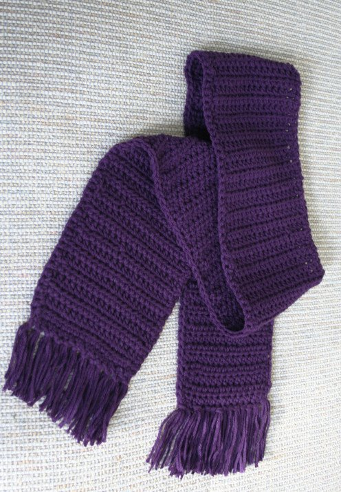 Easy Peasy Crochet Purple Scarf