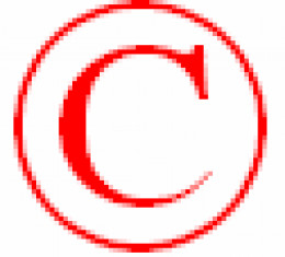 Copyright symbol in red