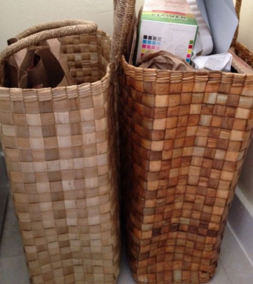 These tall baskets help us keep our recycling organized -  © L Kathryn Grace - All rights reserved