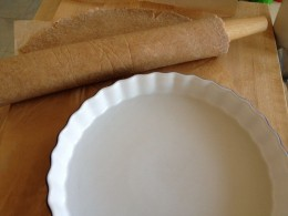 Leaving the parchment behind, roll the dough up onto the rolling pin and quickly roll back over your pie plate