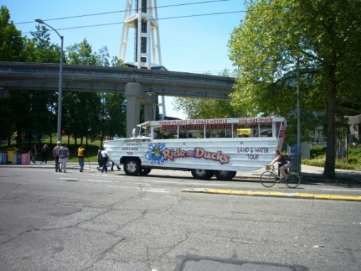 Seattle Ride the Ducks Passing the Space Needle