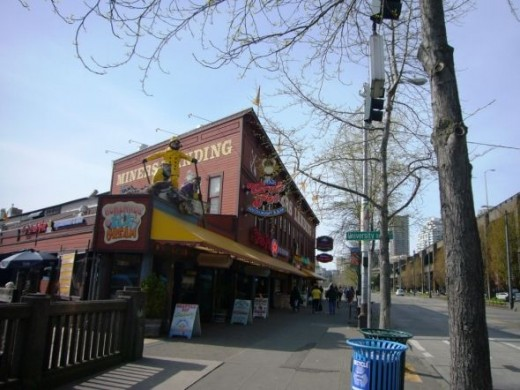 Miner's Landing and the Crab Pot Restaurant on the Seattle Waterfront