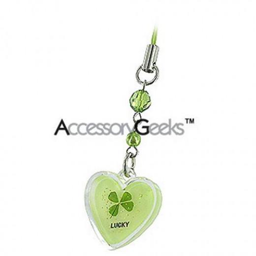 Four leaf clover phone charm