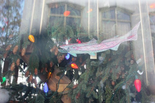 "This is a view of some of the handmade ornaments based on the theme ""Sharing Washington's Good Nature"" including a salmon, an important state species."