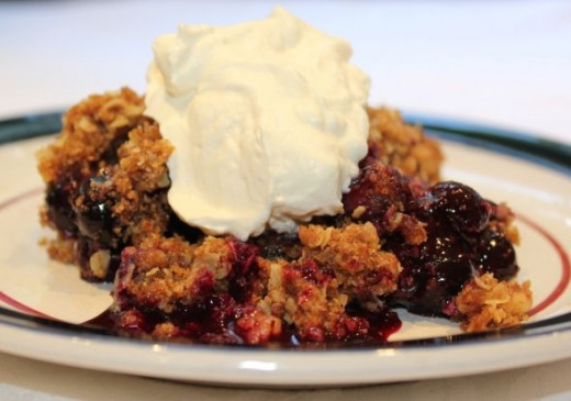 Blueberry Crisp with Whipped Cream