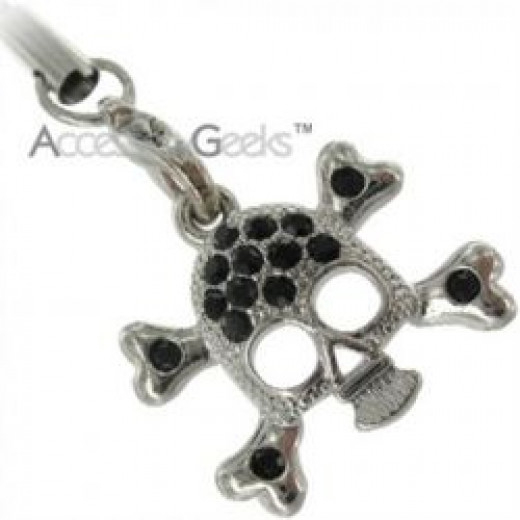 Silver and black skull phone charm