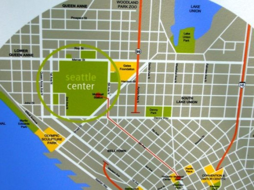 Location of the Seattle Center on a Map of Seattle