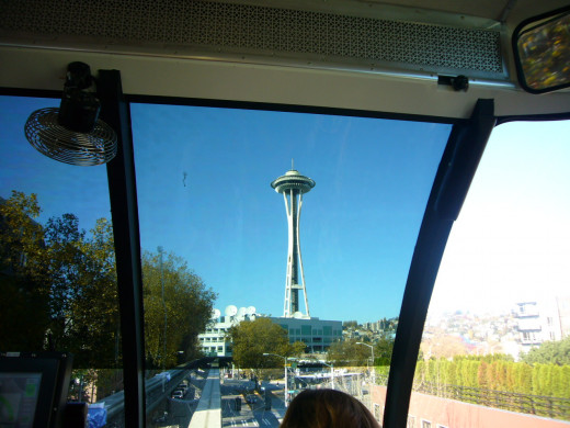 View of the Space Needle From Inside the Seattle Monorail
