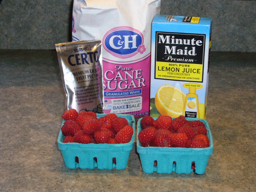 Raspberry Freezer Jam Ingredients