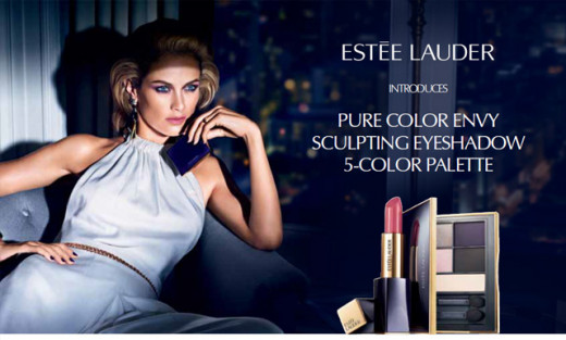 An ad for the Estee Lauder Pure Color Envy Sculpting Eye Shadow Palette.