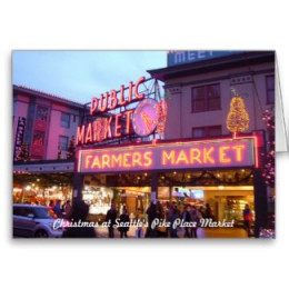 Seattle Pike Place Market Christmas Card