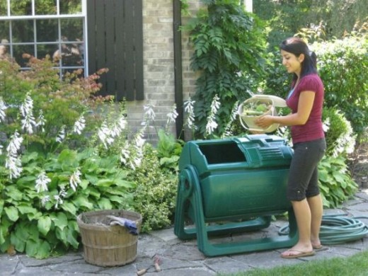 The Sun-Mar 200 rotating tumbler composter is great for making garden and landscaping fertilizer by composting kitchen scraps and some cut up garden trimmings or as part of a complete green lifestyle.