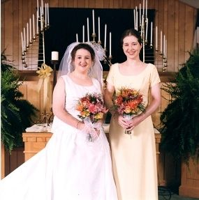 See how much taller she is??  No fair bridesmaid!
