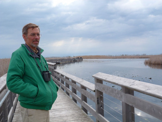 Cloudy morning at the Marsh Boardwalk (that's my husband)