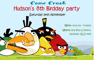 Angry Birds personilized invitations