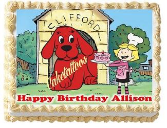 Clifford edible cake topper