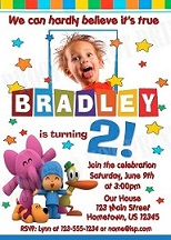 Pocoyo party invitations available from EqPartySupplies Esty store
