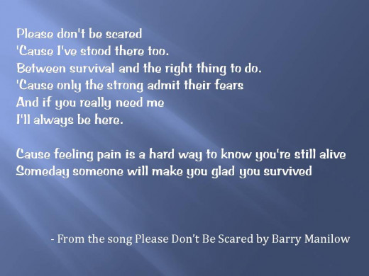 -From the song Please Don't Be Scared by Barry Manilow