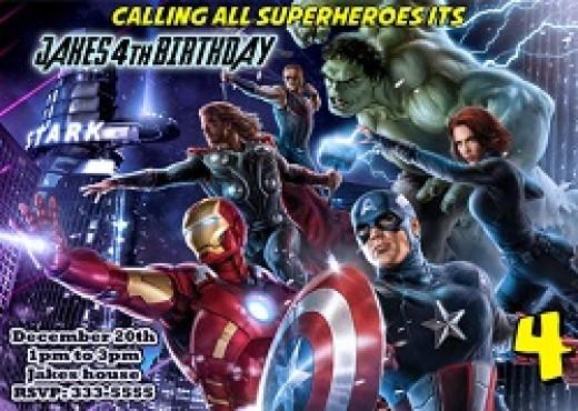 Personalized Avengers birthday invitations