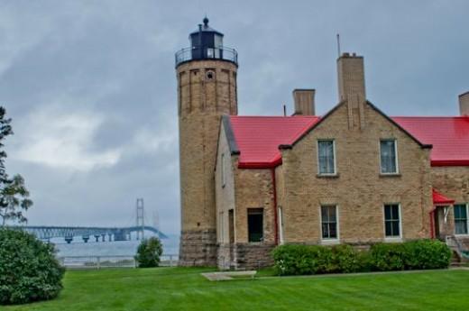 Old Mackinac Point Lighthouse and Bridge