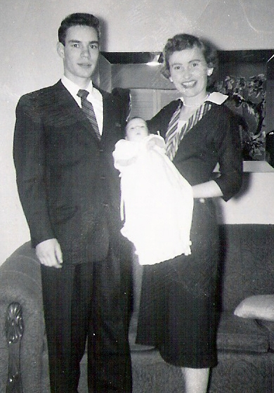 Julie Ann with godparents- cousin Don and Aunt Alice