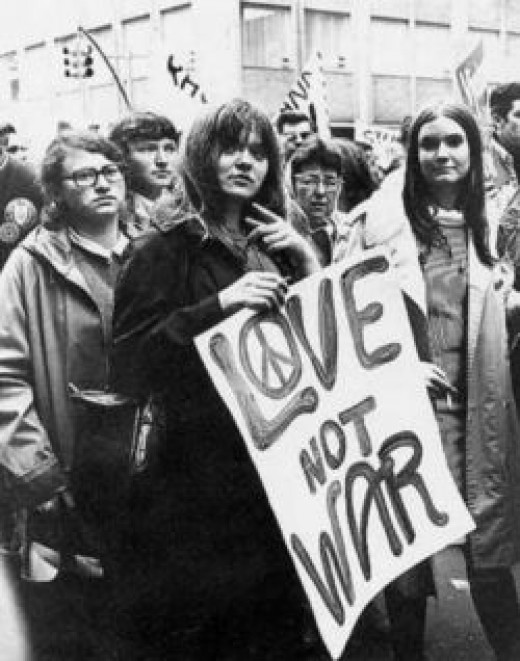Sixties protestors for peace over war.