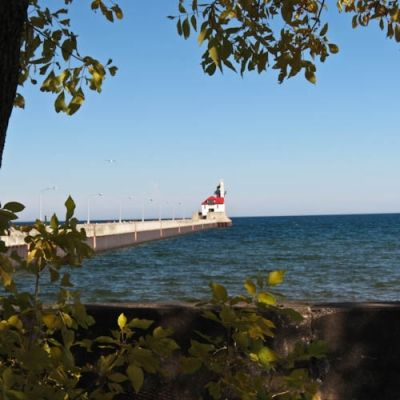 Duluth Lighthouse Framed in Fall Foliage