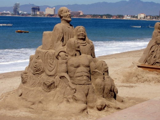 The sand sculpture on the beach was incredible.