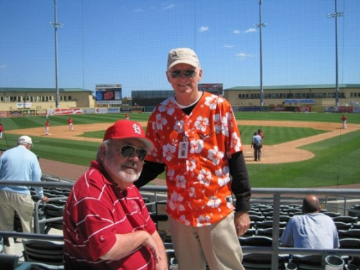 The ushers at the ballpark are great.  We've had the same seats each of the last 4 years and the same usher, Dennis.  Here is a photo of Dennis with my husband, Ray.