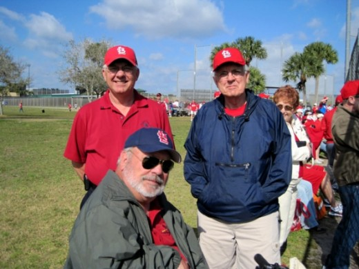 Here are two St. Louis fans, brothers Wayne and Cleo Steffans.  They are talking to Ray at the practice fields.