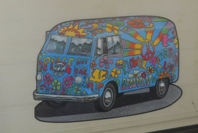 This fun hippie Volkswagen bus cut-out is an icon of the 60s.